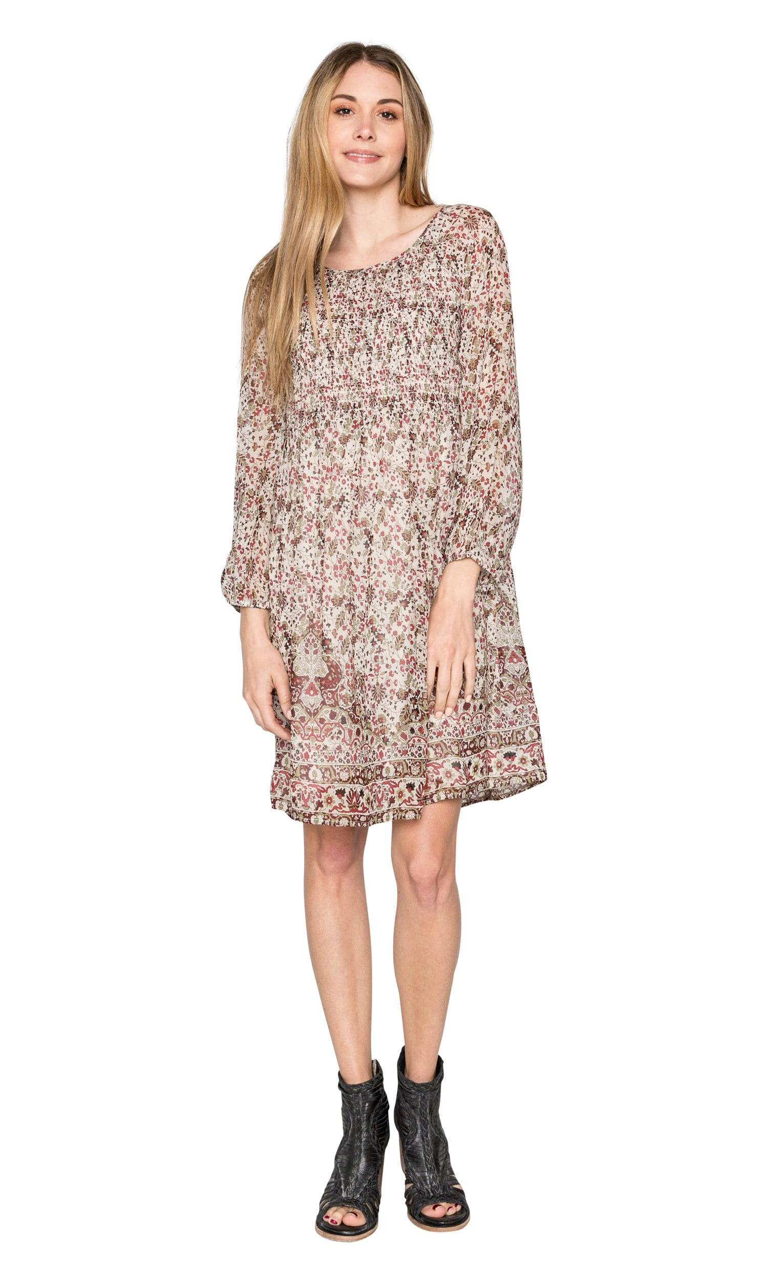 Velvet by Graham & Spencer Ariana Printed Smocked Dress