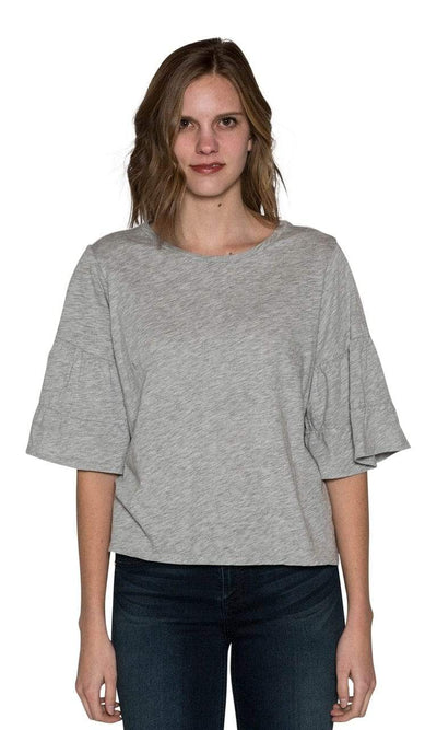 Velvet by Graham & Spencer Ellis Cotton Slub Ruffle Tee-Heather Grey-Velvet-Vintage Fringe