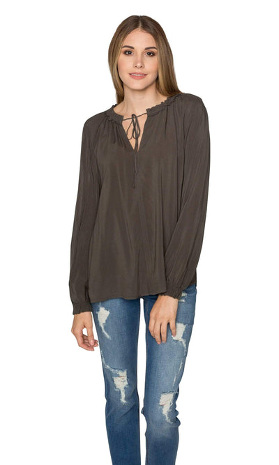 Velvet by Graham & Spencer Samantha03 Rayon Challis Peasant Tie Top-Velvet-Vintage Fringe
