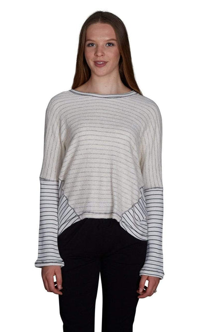 Valln Hi-Lo Striped Scoop Sweatshirt-Valln-Vintage Fringe