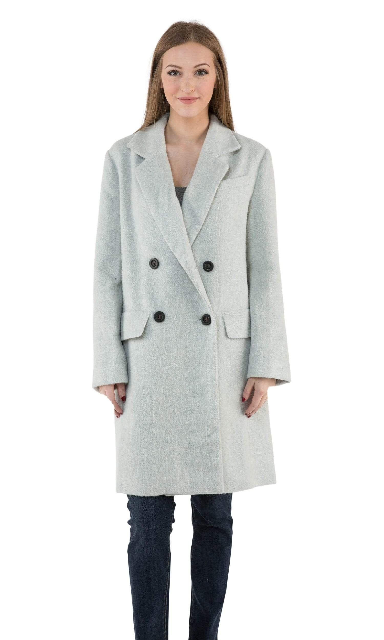 J.O.A. Double Breasted Coat with Notched Collar