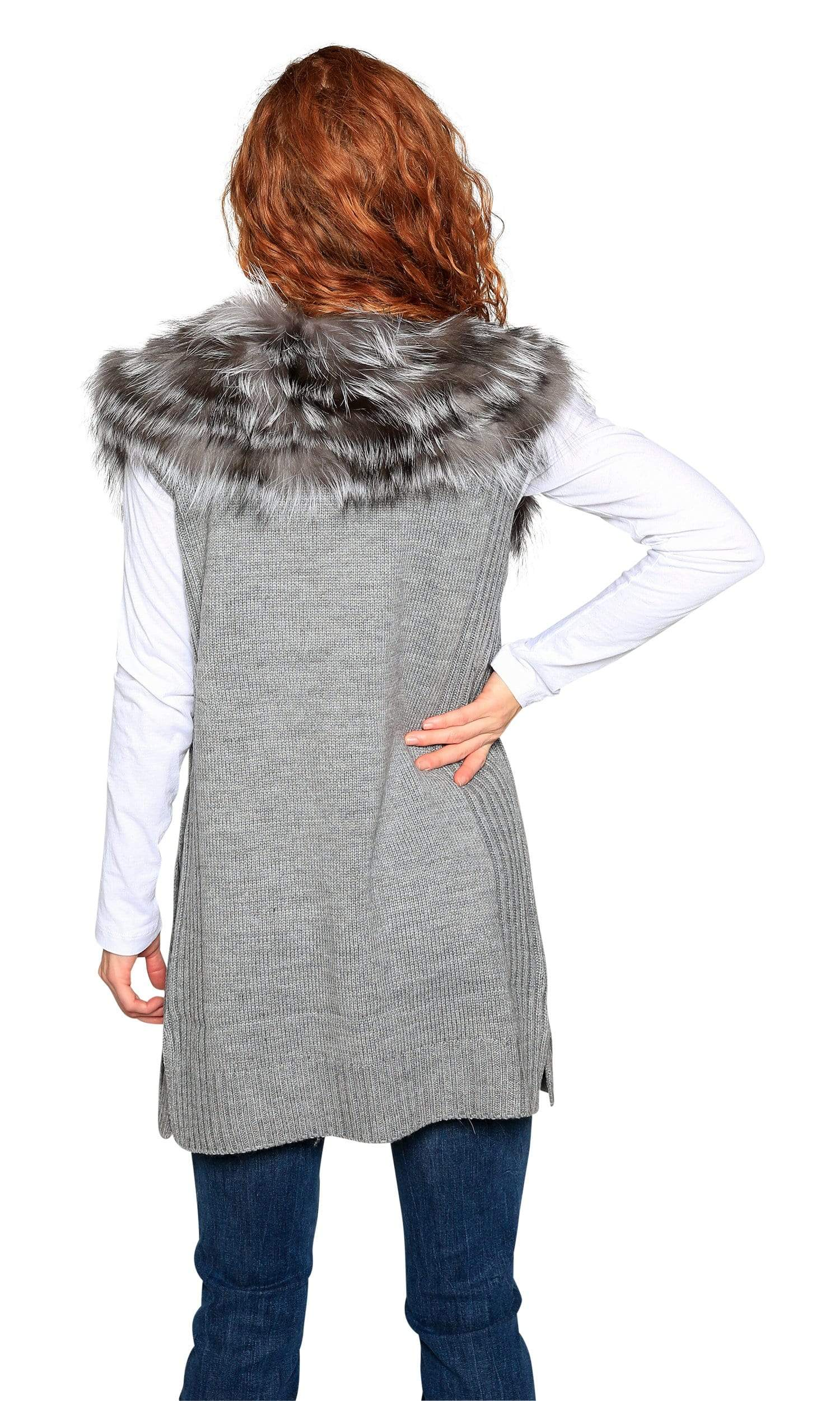 Love Token Melody Genuine Rabbit Fur Trim Vest