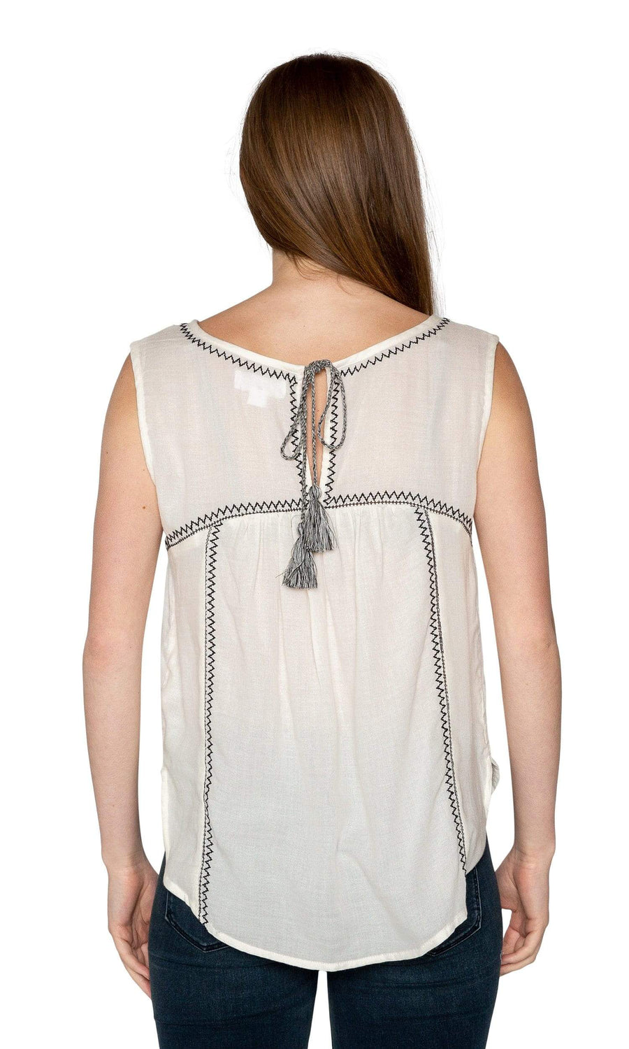 Velvet by Graham & Spencer Asera Embroidered Crepe Sleeveless Top-Velvet-Vintage Fringe