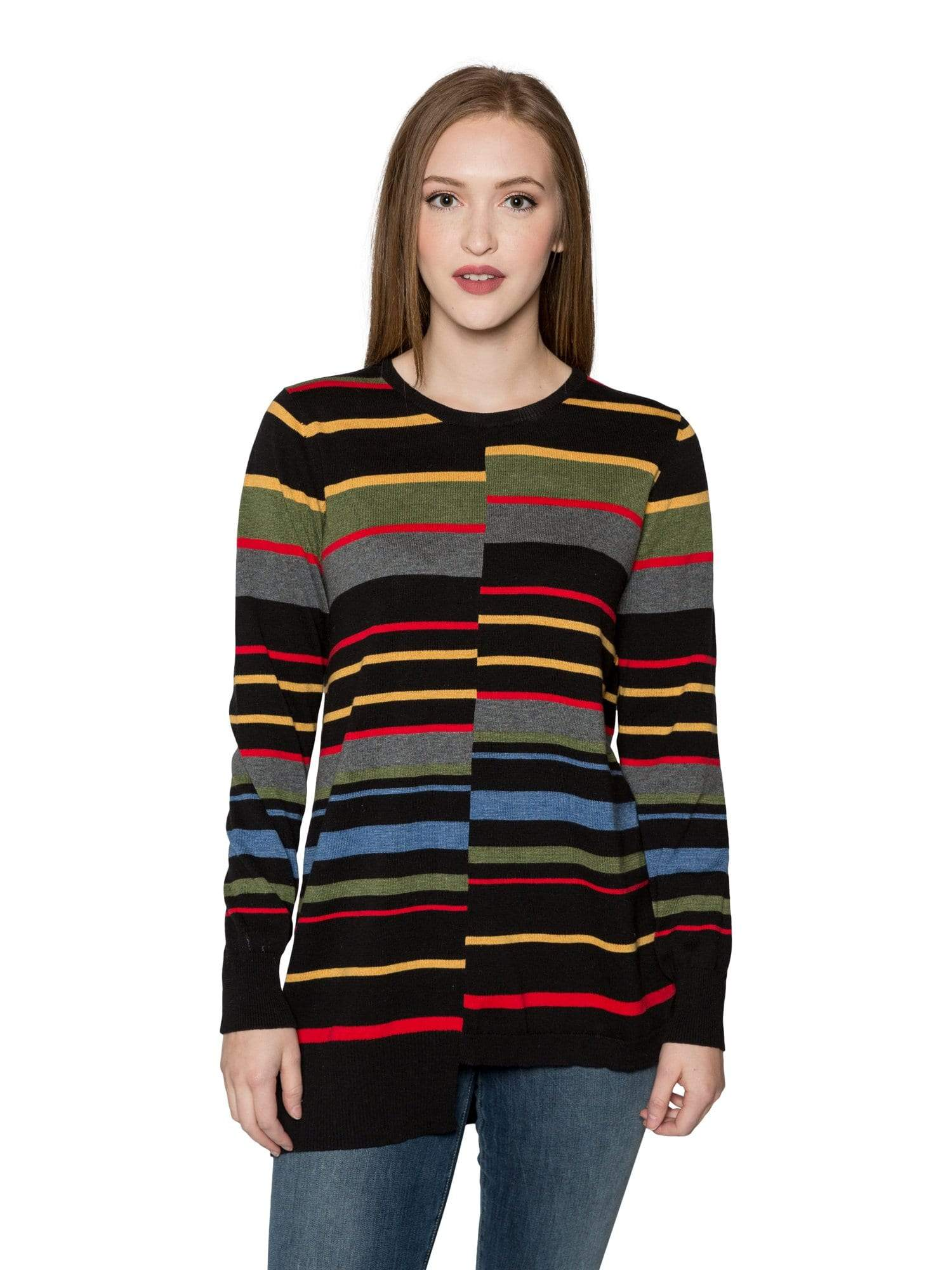 Sogi Interrupted Striped Tunic Sweater