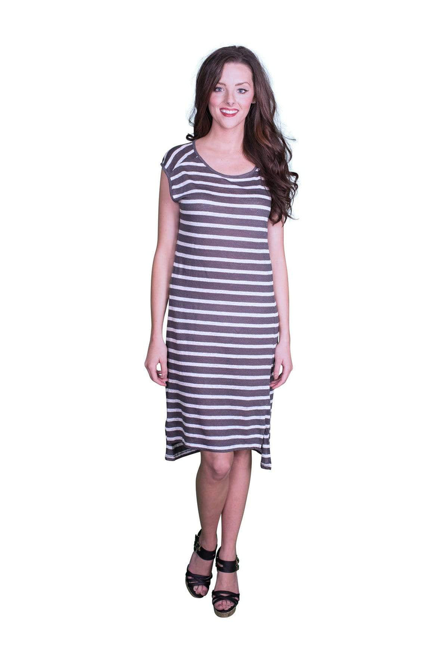 Velvet by Graham & Spencer Leila Linen Stripe Tank Dress-Velvet-Vintage Fringe