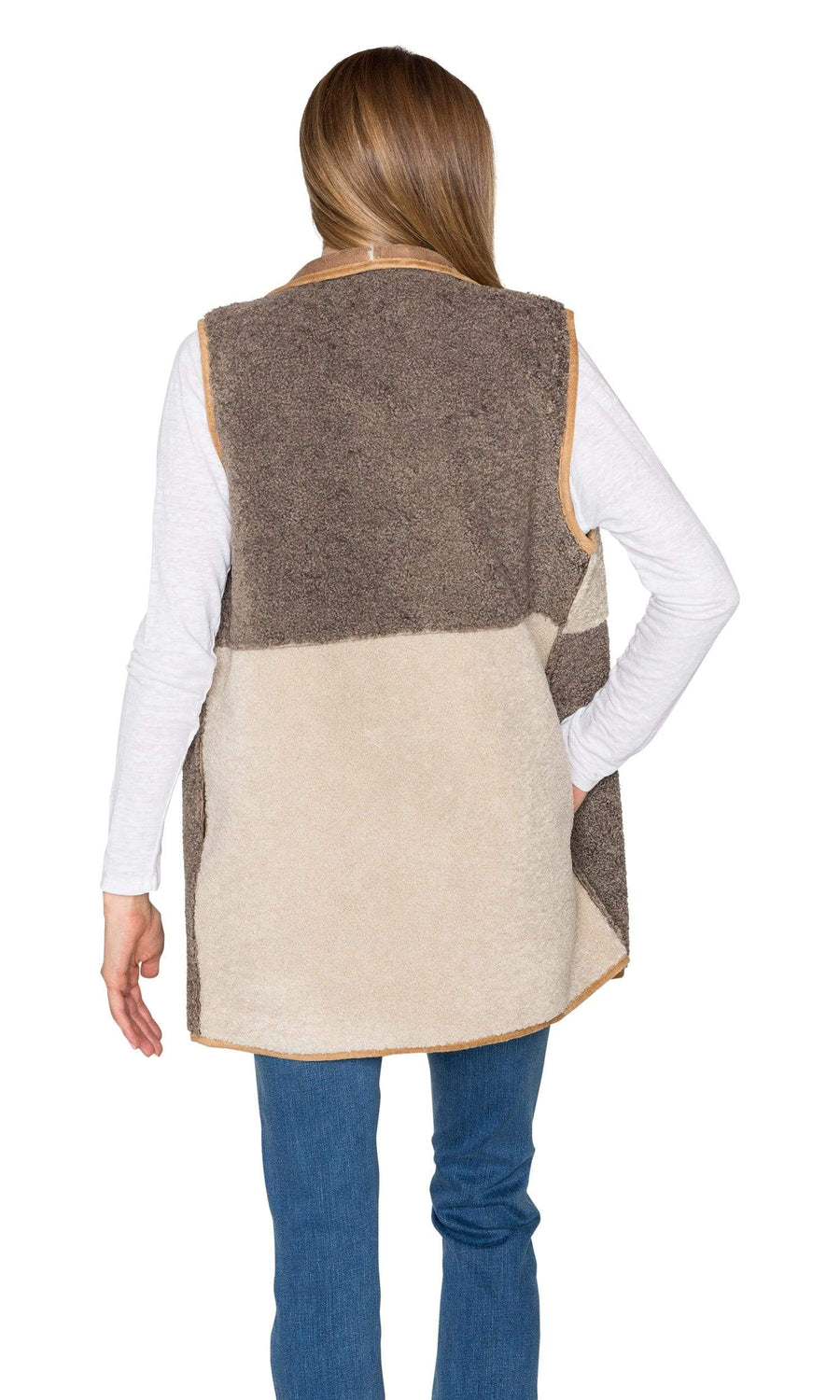Velvet by Graham & Spencer Valetta Faux Sherpa Reversible Colorblock Vest
