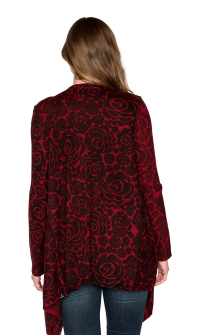 Knitwit Cashmere Open Drape Cardigan - Red Rose-Knitwit-Vintage Fringe