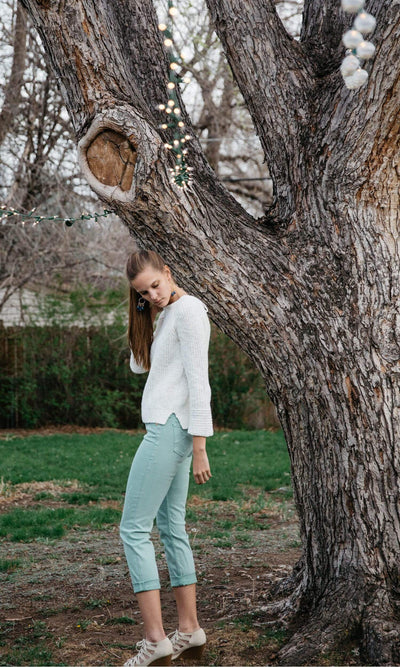 Level 99 Lily Mid Rise Crop Rollup Denim - Mint
