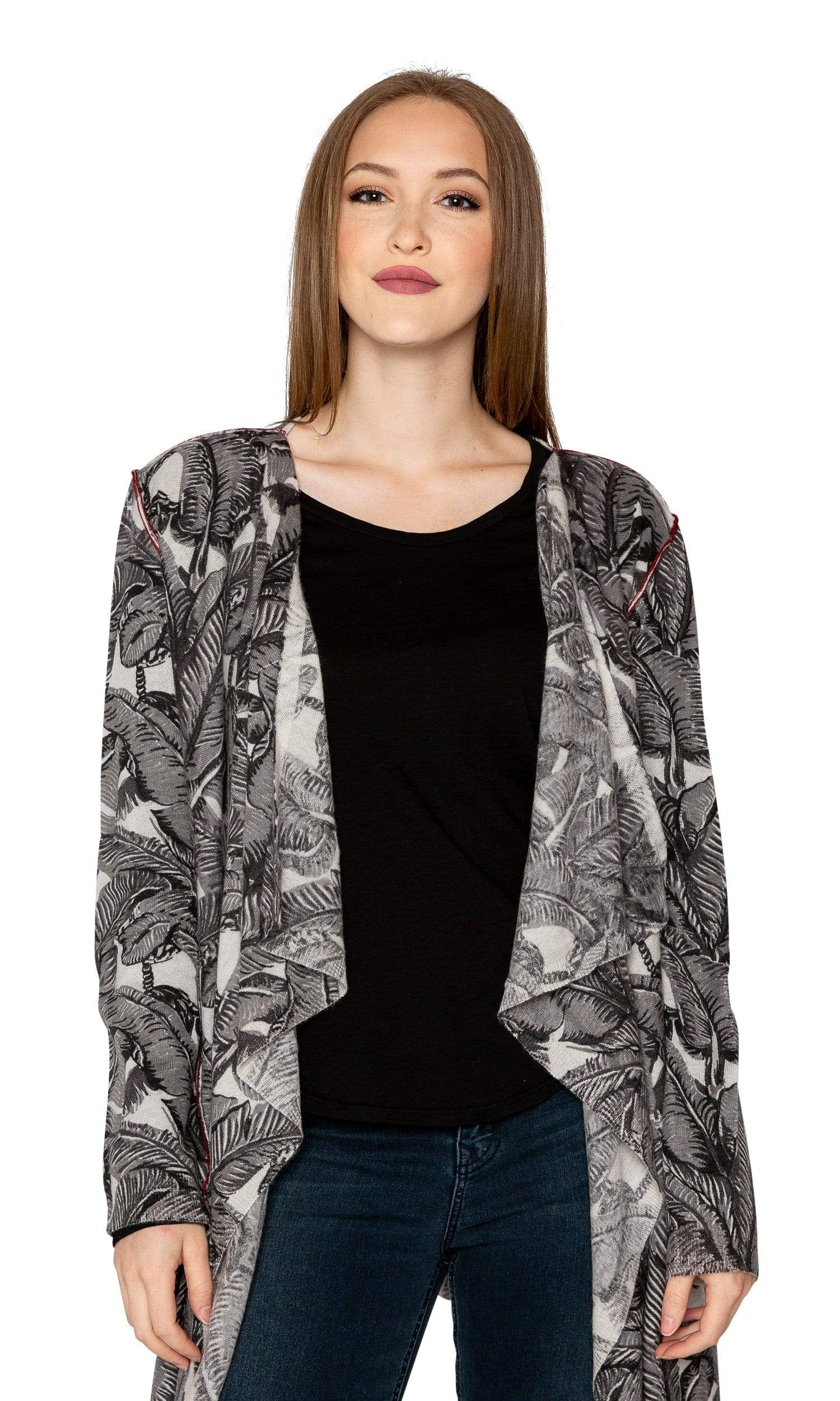 Knitwit Cashmere Open Drape Cardigan - Midnight Paradise