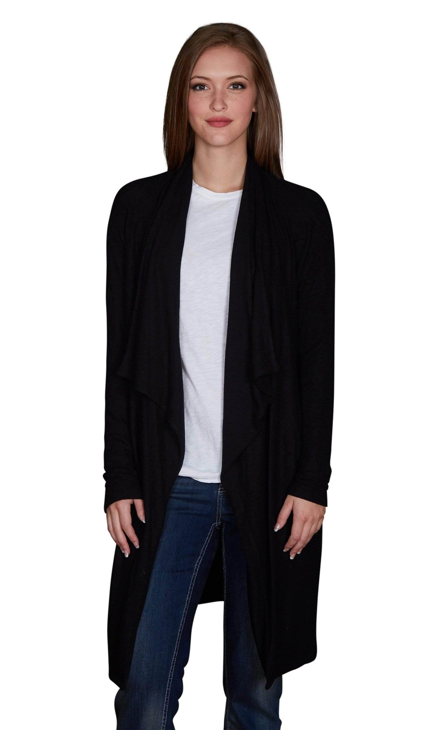 Velvet by Graham & Spencer Dejavu Cozy Jersey Front Drape Cardigan
