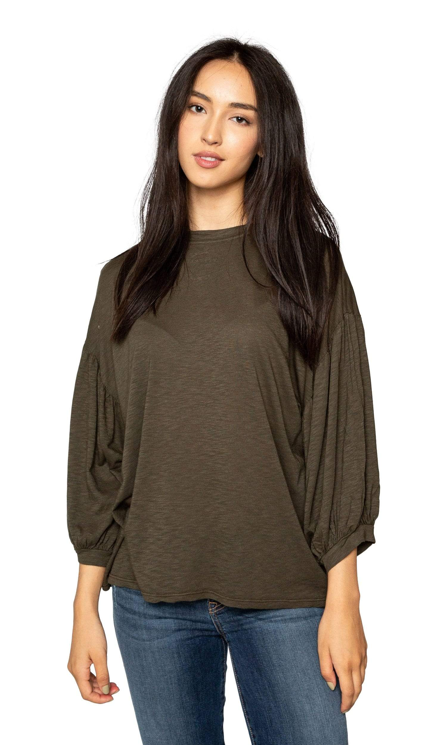 Velvet by Graham & Spencer Tovah Lux Slub Puff Sleeve Top