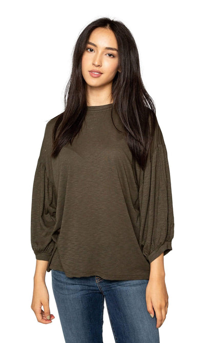 Velvet by Graham & Spencer Tovah Lux Slub Puff Sleeve Top-Velvet-Vintage Fringe