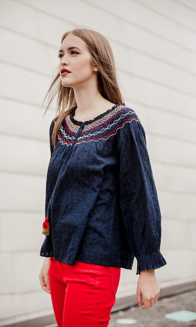 Velvet by Graham & Spencer Trudie Embroidered Smocked Top
