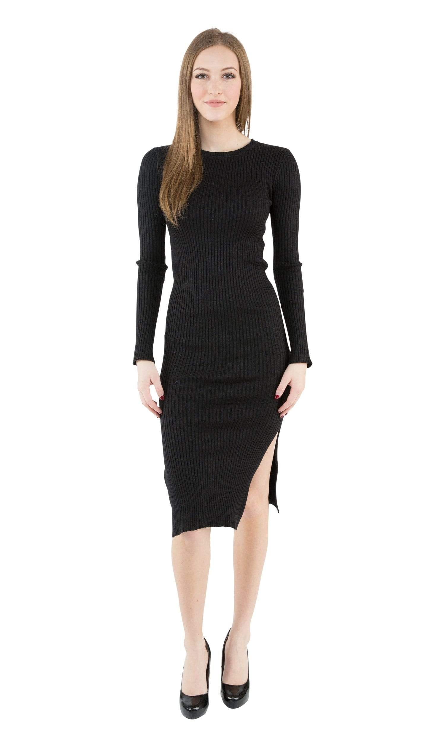 J.O.A. Long Sleeve Midi Dress with Side Slits