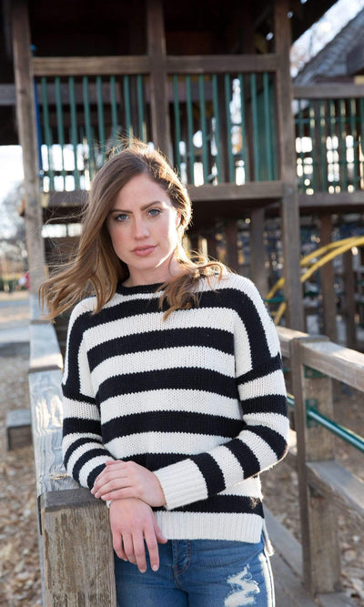 Velvet by Graham & Spencer Maddilyn Stripe Crewneck Sweater