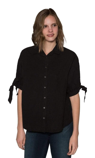Velvet by Graham & Spencer Meryl Cotton Poplin Tie Sleeve Button Up Top-Velvet-Vintage Fringe