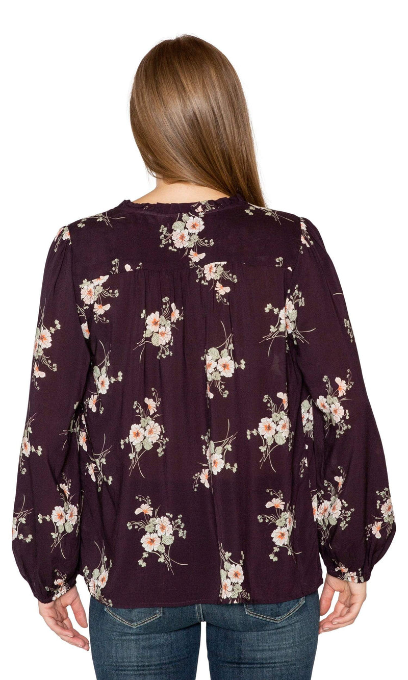 Velvet by Graham & Spencer Adanya Floral Printed Challis Peasant Top-Velvet by Graham & Spencer-Vintage Fringe