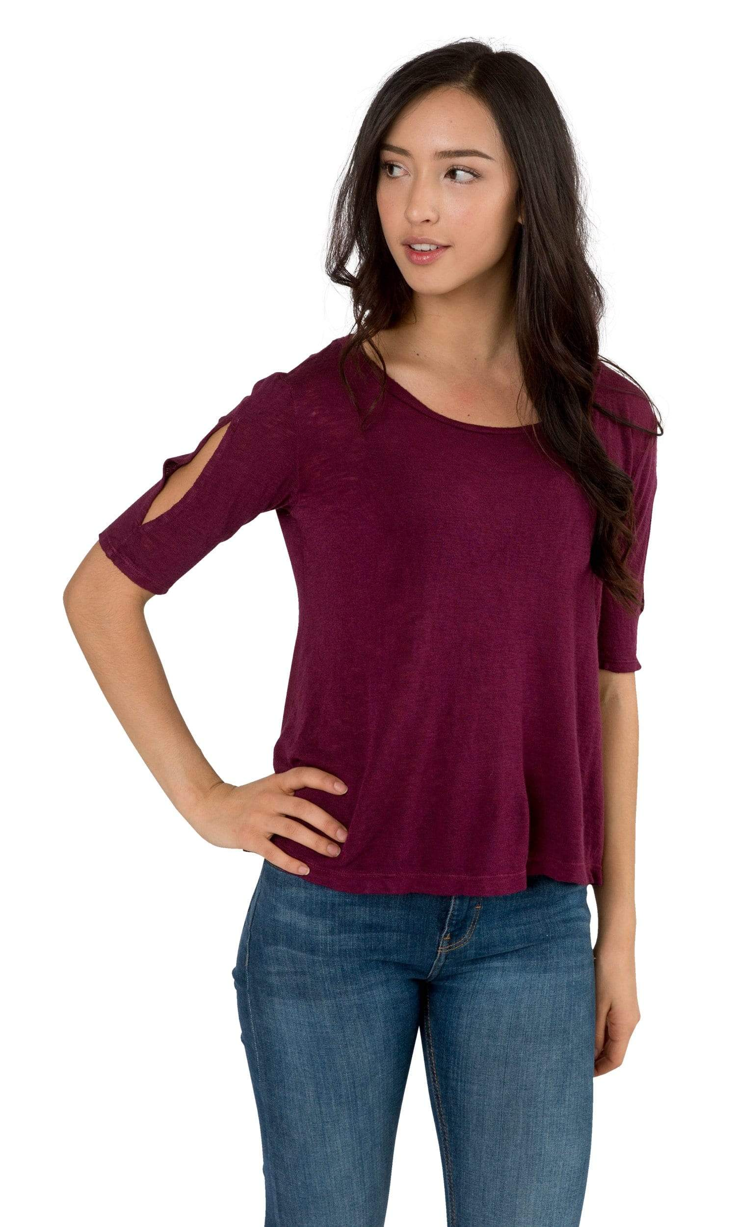 Velvet by Graham & Spencer Janey Textured Knit Cut Out Tee-Velvet-Vintage Fringe