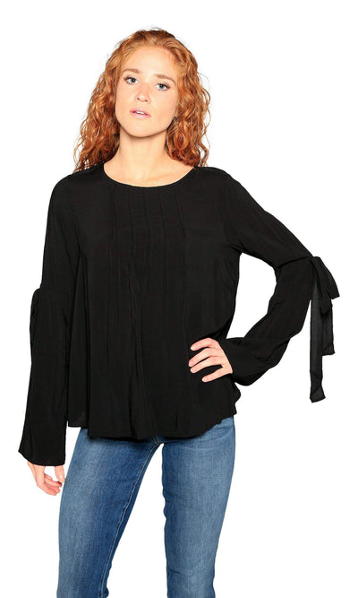 Velvet by Graham & Spencer Abitha Tie Bell Sleeve Challis Top