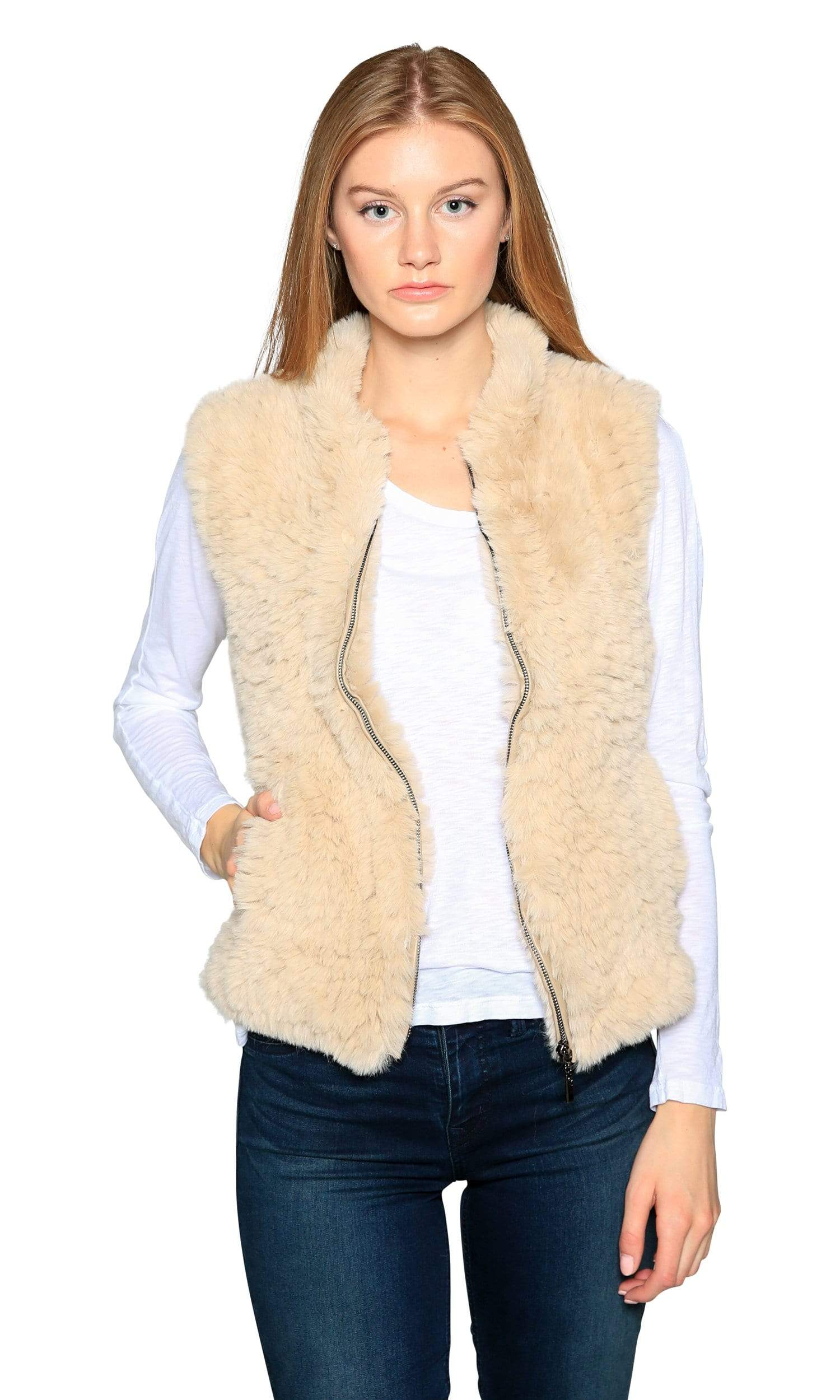 Love Token Ruby Zip Up Faux Fur Vest