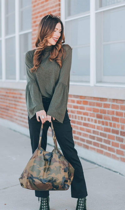 Streets Ahead Charlotte Pyramid Camo Print Large Leather Tote