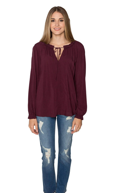Velvet by Graham & Spencer Samantha03 Rayon Challis Peasant Tie Top