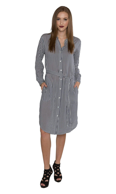 Velvet by Graham & Spencer Sonoma03 Vertical Stripe Shirt Dress-Velvet-Vintage Fringe