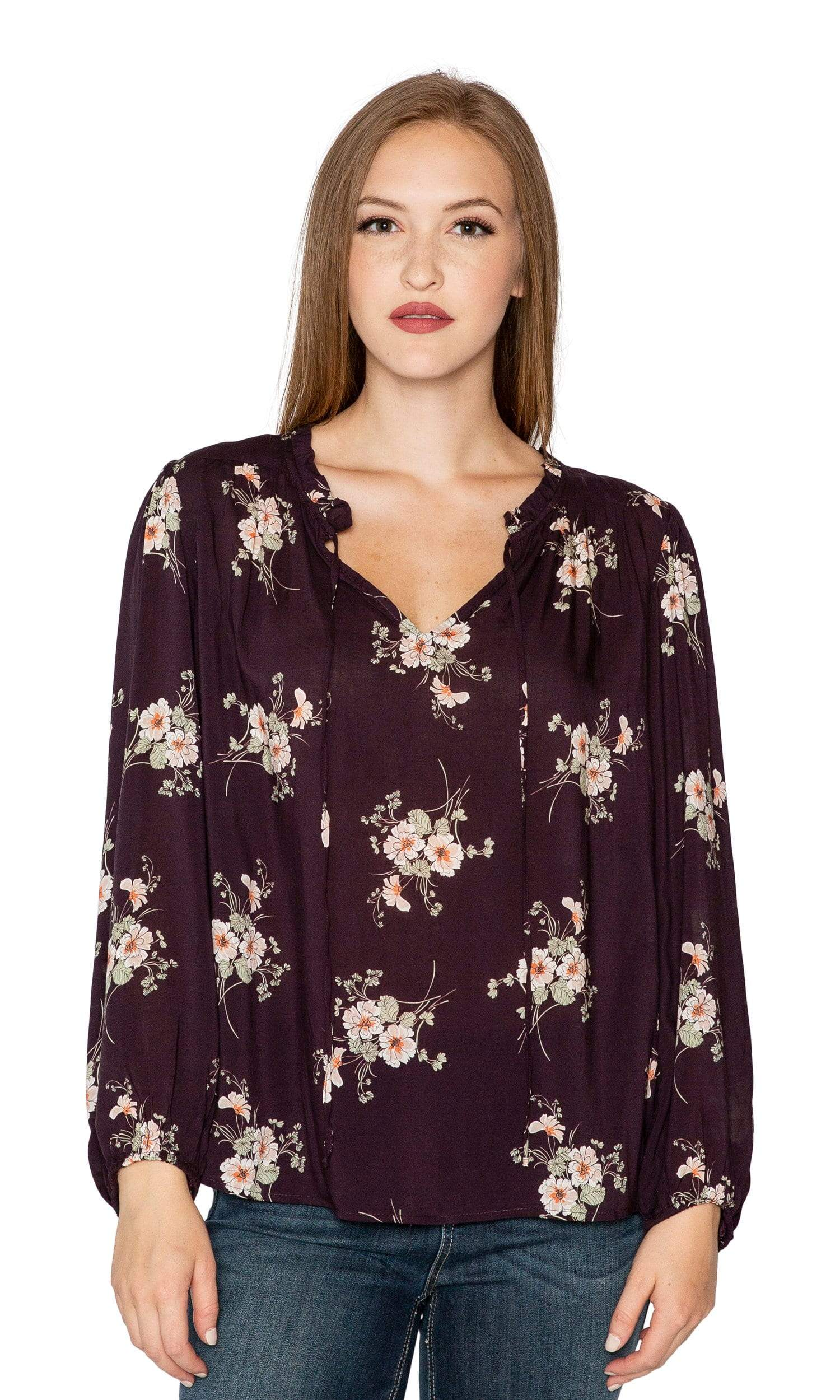 Velvet by Graham & Spencer Adanya Floral Printed Challis Peasant Top
