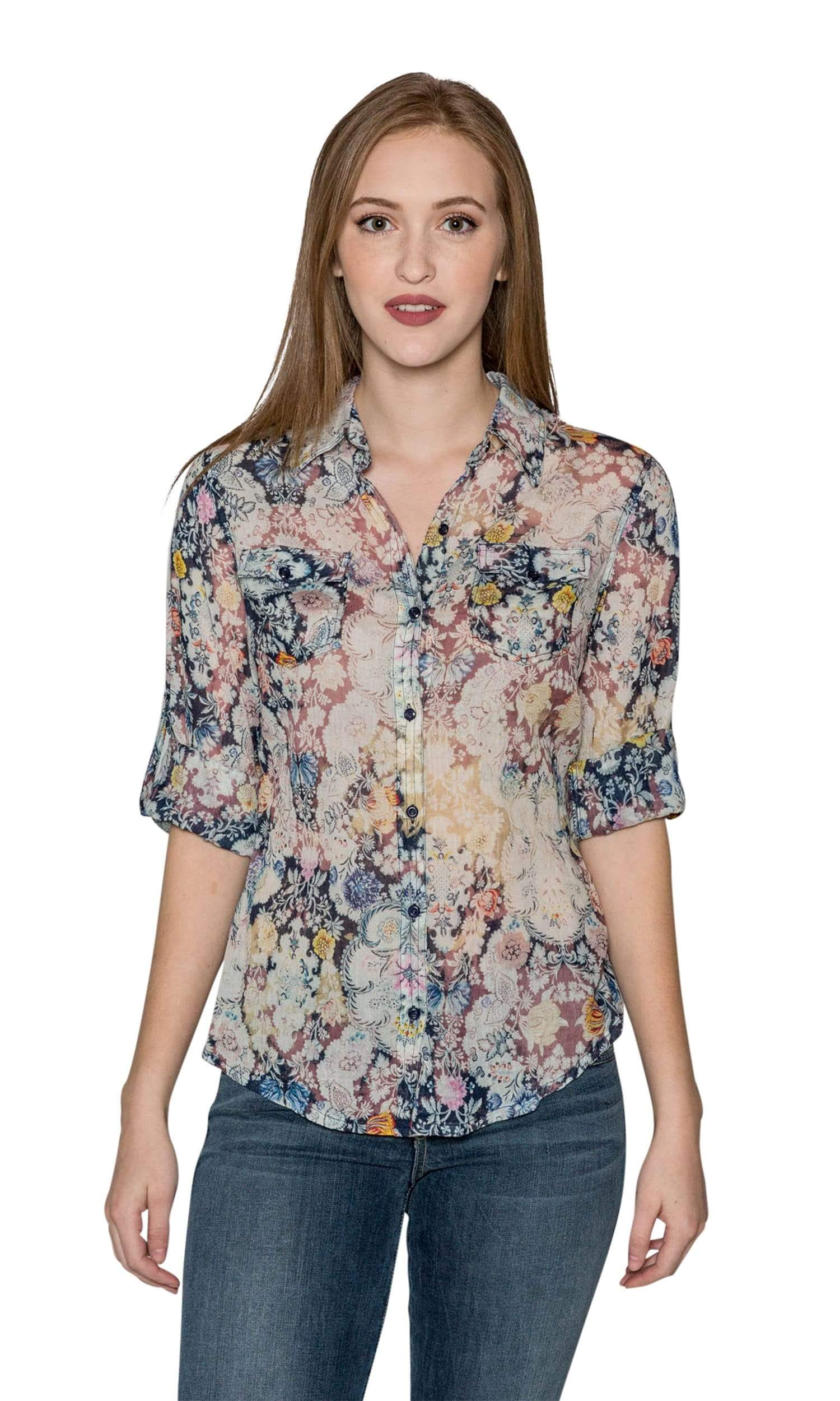J.A.K. Button Down Navy Floral Shirt-J.A.K.-Vintage Fringe