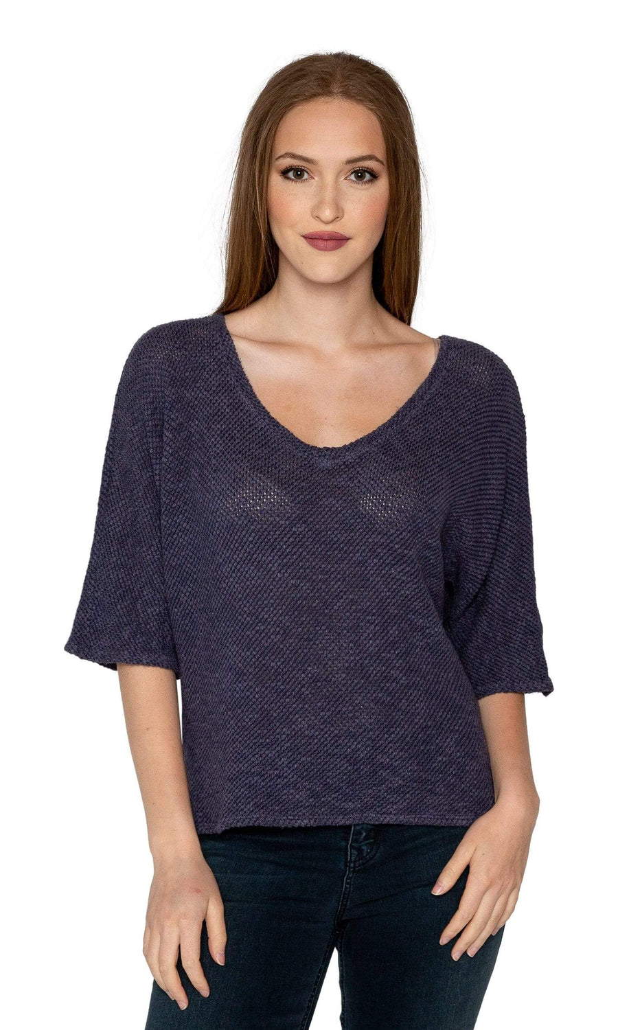 Velvet by Graham & Spencer Dominika Cotton Crochet 3/4 Sleeve Top