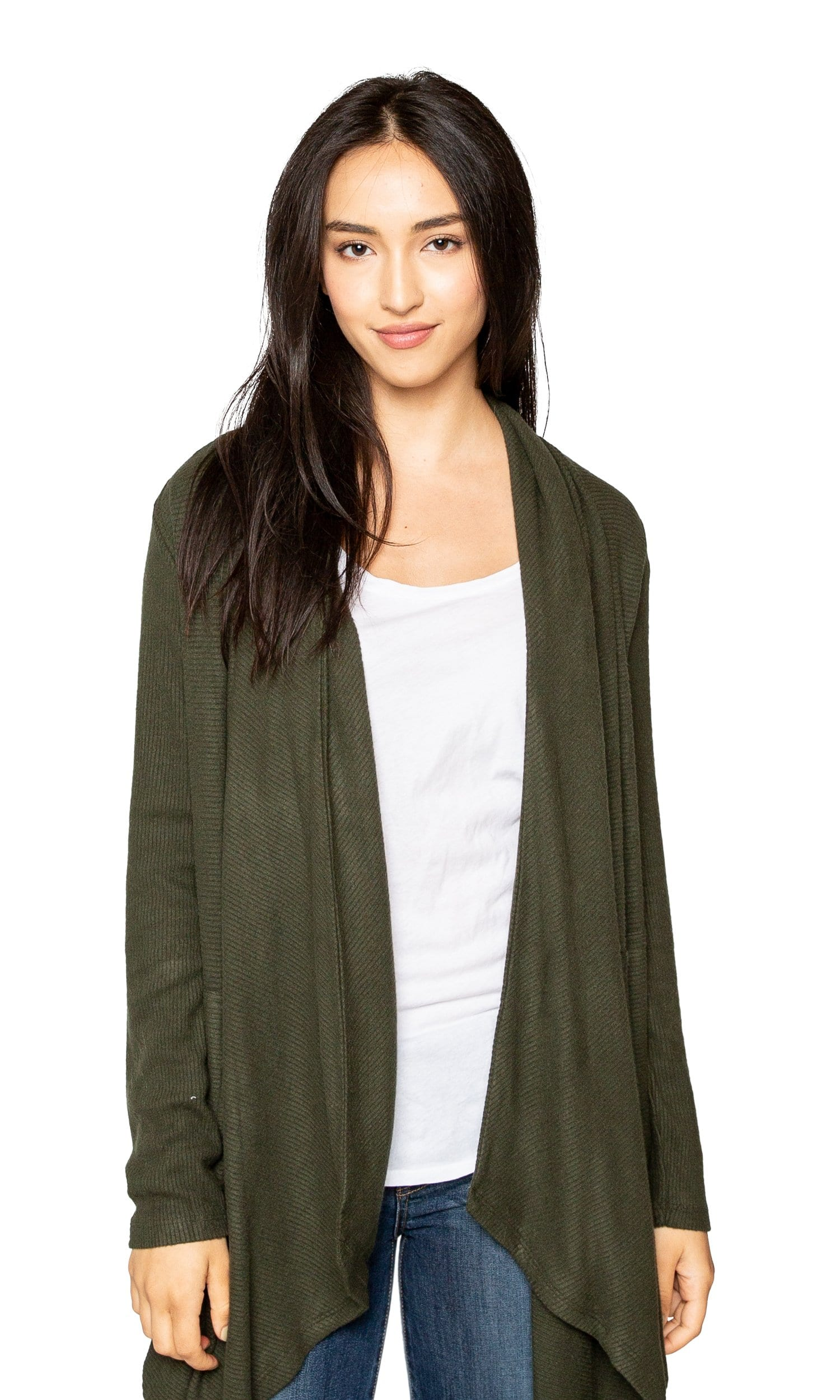 Velvet by Graham & Spencer Soraya Cozy Jersey Ribbed Cardigan