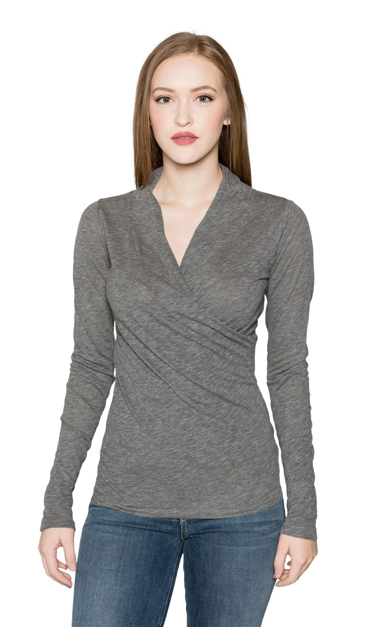 Velvet by Graham & Spencer Meri05 Front Wrap Top-Charcoal