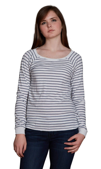 Velvet by Graham & Spencer Lele Vintage Stripe Cotton Long Sleeve Tee-Velvet-Vintage Fringe