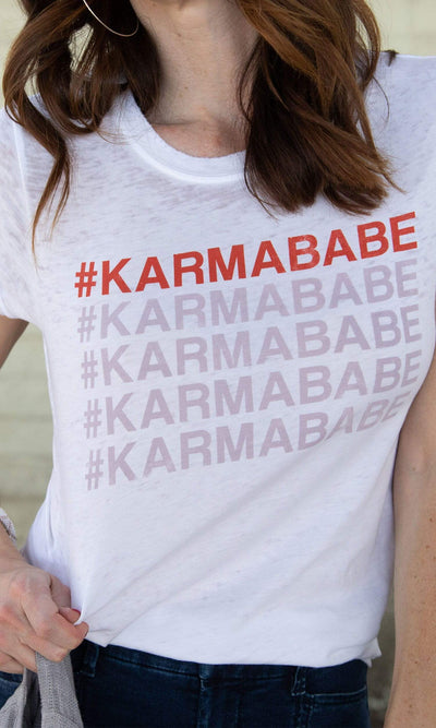 Recycled Karma Karmababe Distressed Burnout Tee