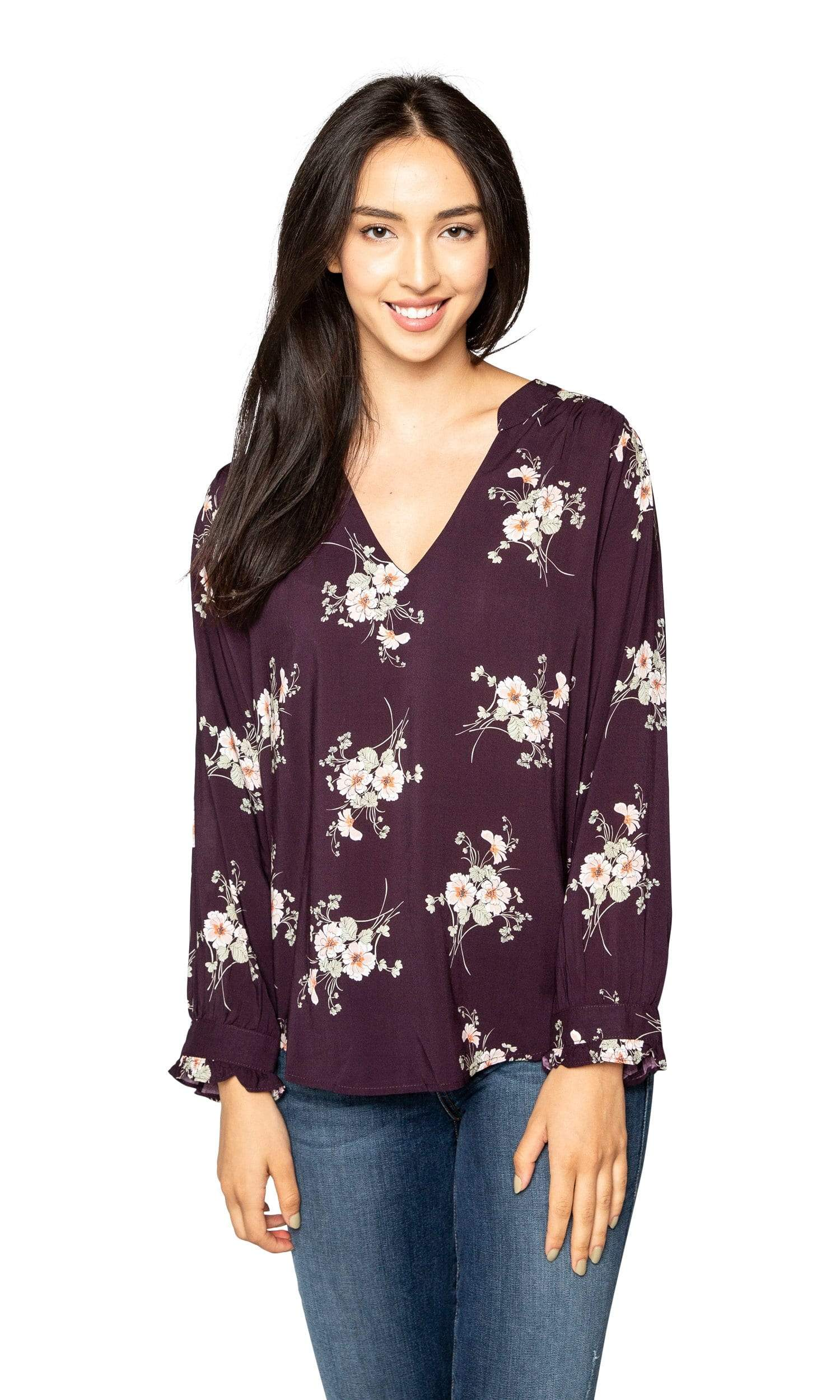 Velvet by Graham & Spencer Jazzy Floral Print V Neck Top