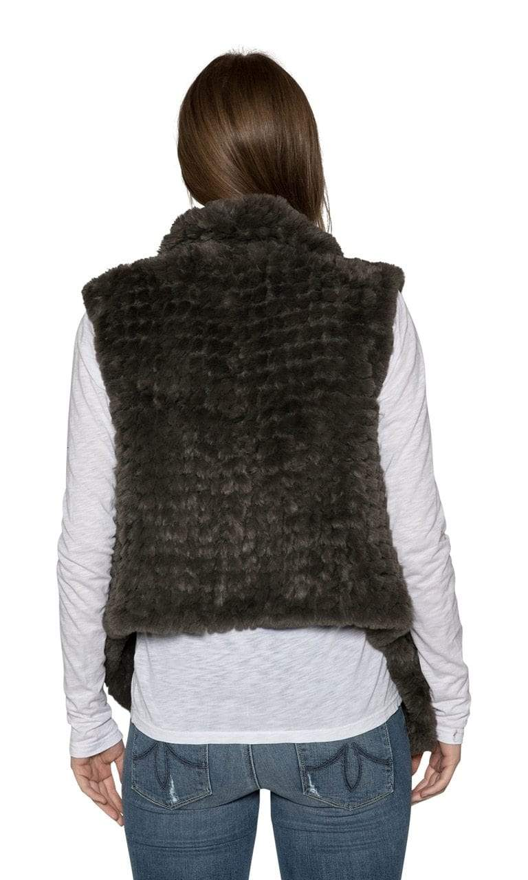 Love Token Ali Faux Fur Vest-Green