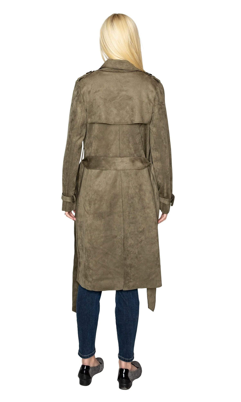 Love Token Adrianna Faux Suede Trench Coat - Olive