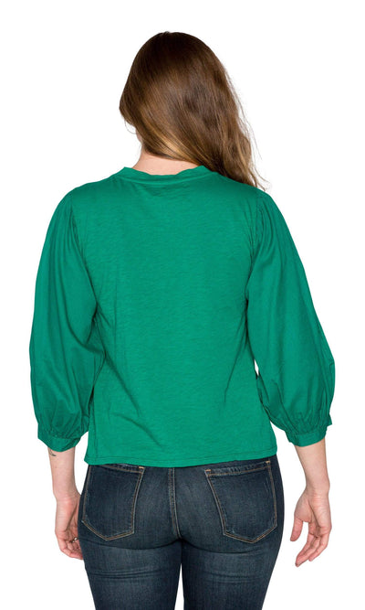 Velvet by Graham & Spencer Simpson Cotton Slub Contrast Puff Sleeve Top