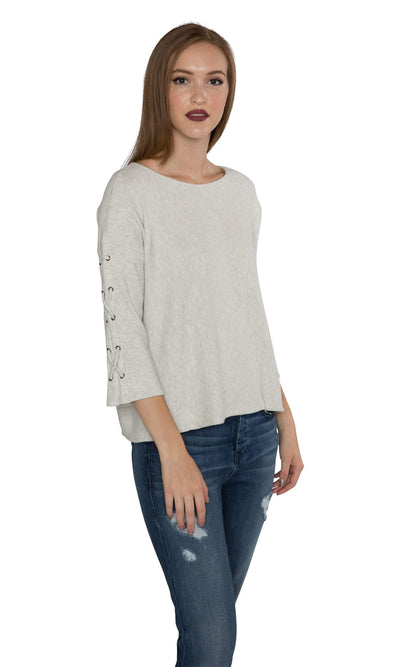 Velvet by Graham & Spencer Cliona Cozy Jersey Ribbed Lace Up Sleeve Top