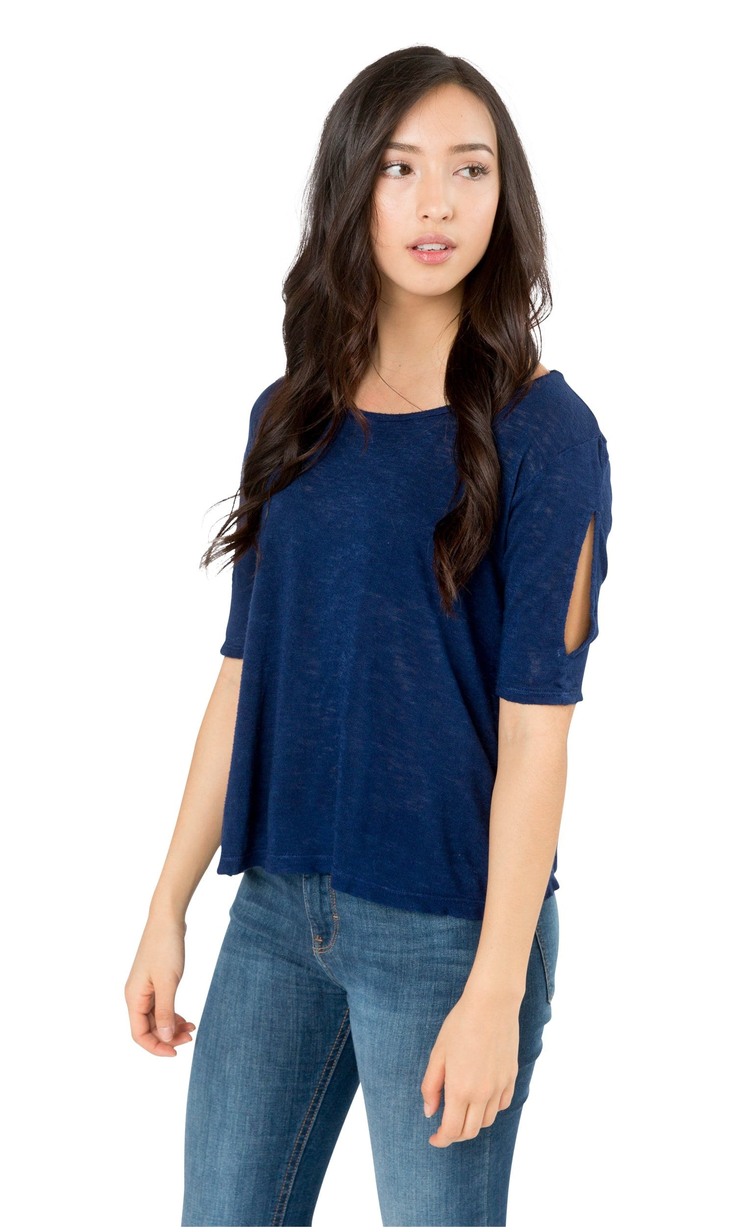 Velvet by Graham & Spencer Janey Textured Knit Cut Out Tee