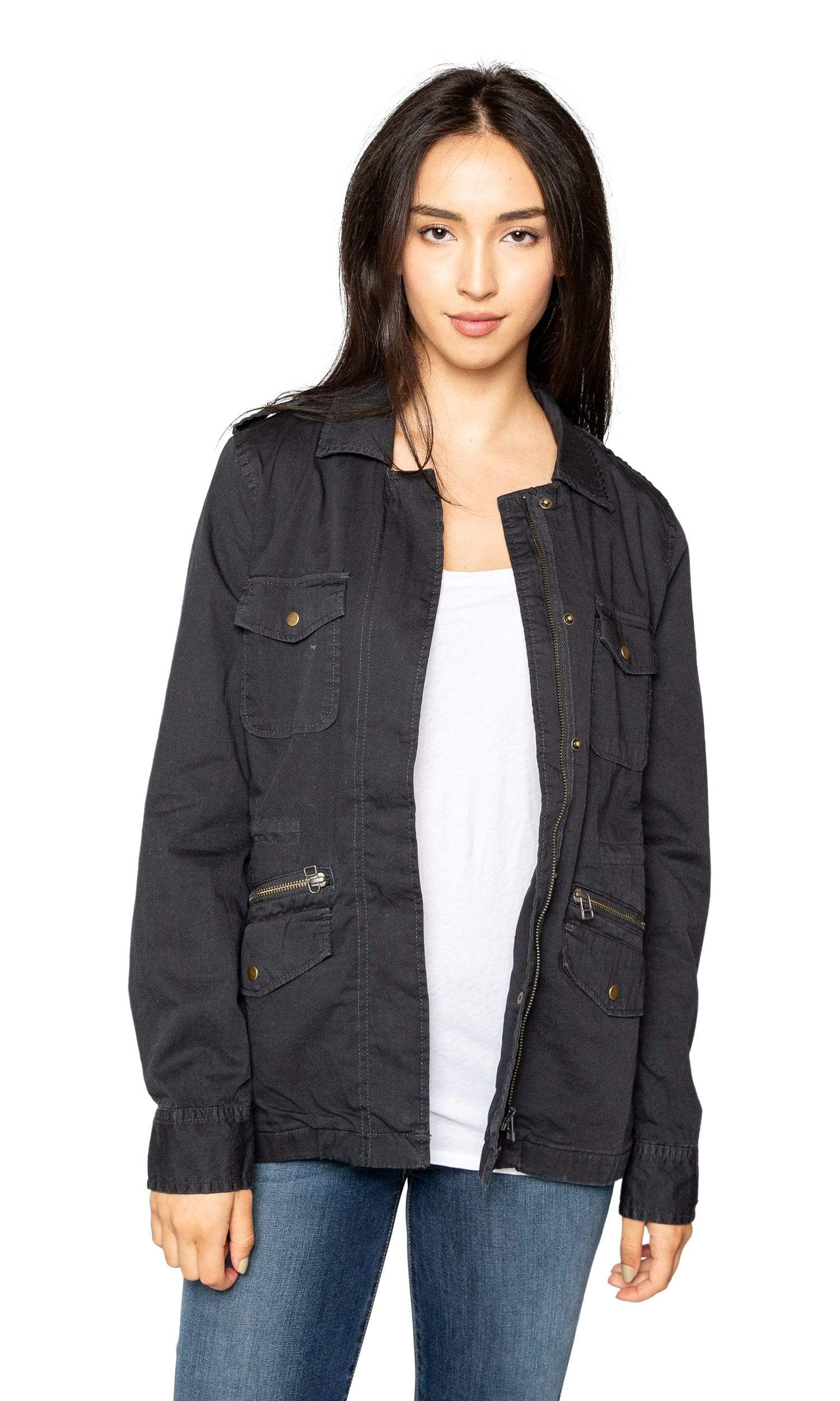 Velvet by Graham & Spencer Lily Aldridge Ruby Army Jacket - Granite