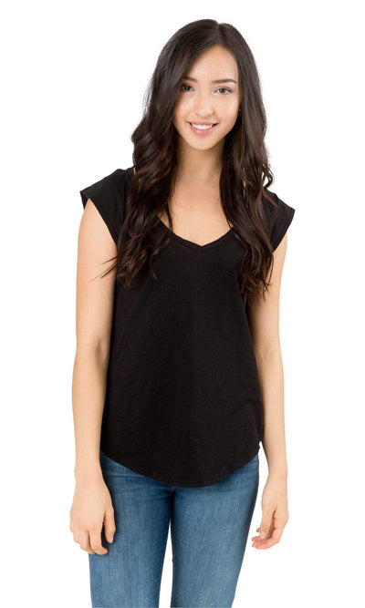 Velvet by Graham & Spencer Christina Cotton Slub Cap Sleeve Top