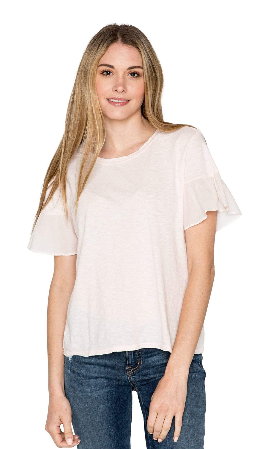 Velvet by Graham & Spencer Maureen Cotton Contrast Ruffle Sleeve Top