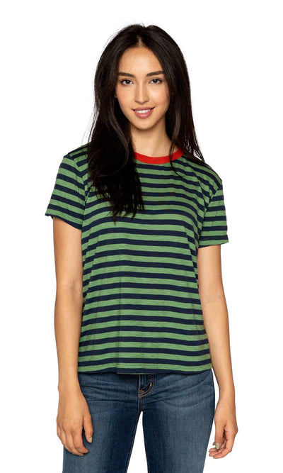 Velvet by Graham & Spencer Peace Slub Knit Stripe Tee