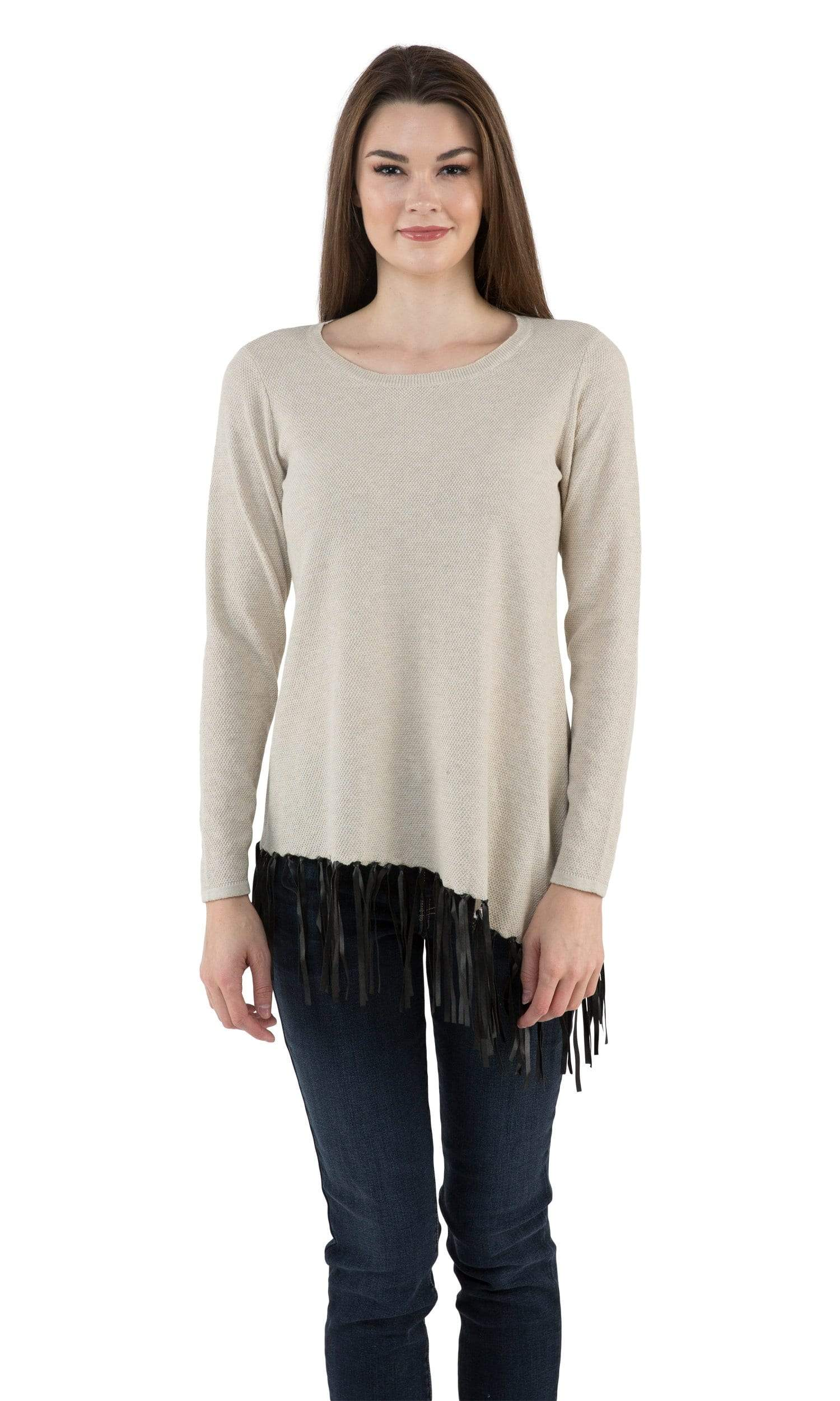 Sogi Asymmetric Hand Knitted Fringe Sweater