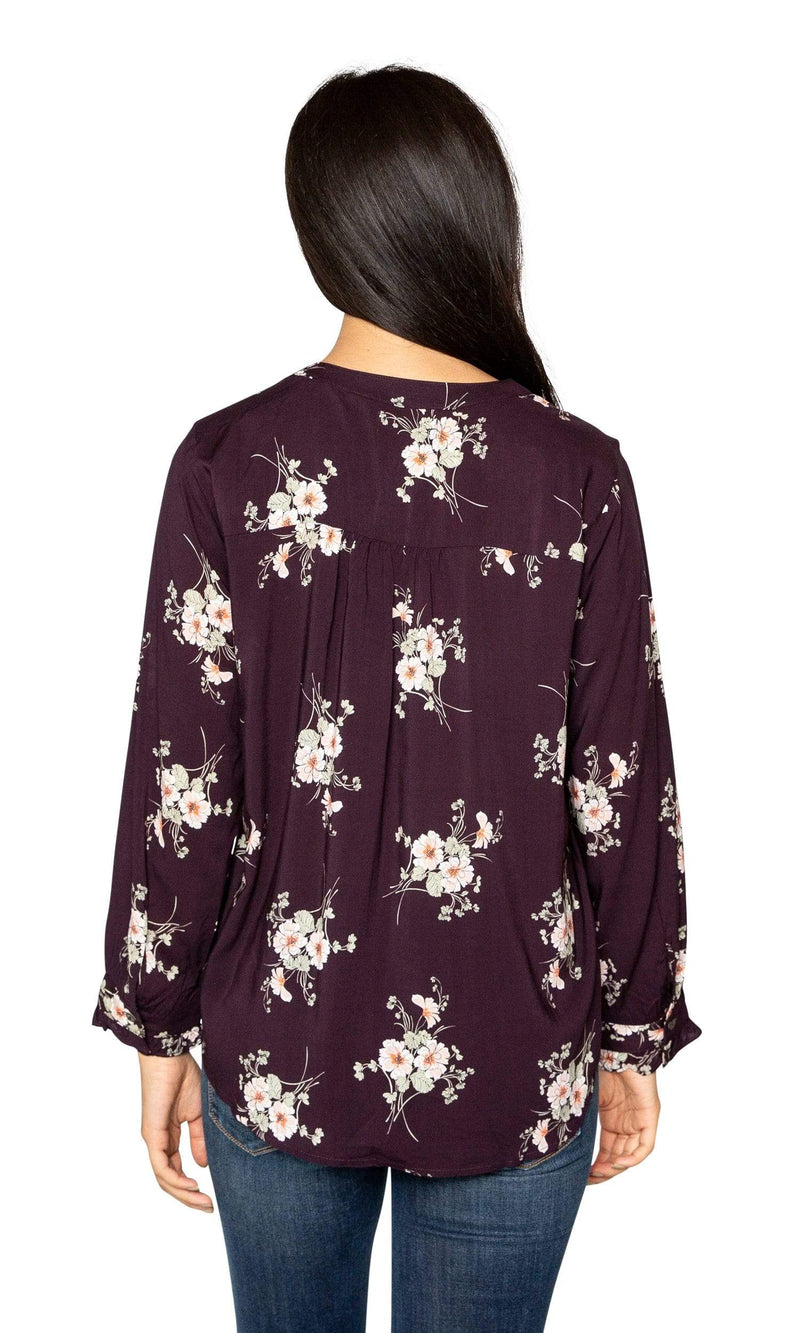 Velvet by Graham & Spencer Jazzy Floral Print V Neck Top-Velvet-Vintage Fringe