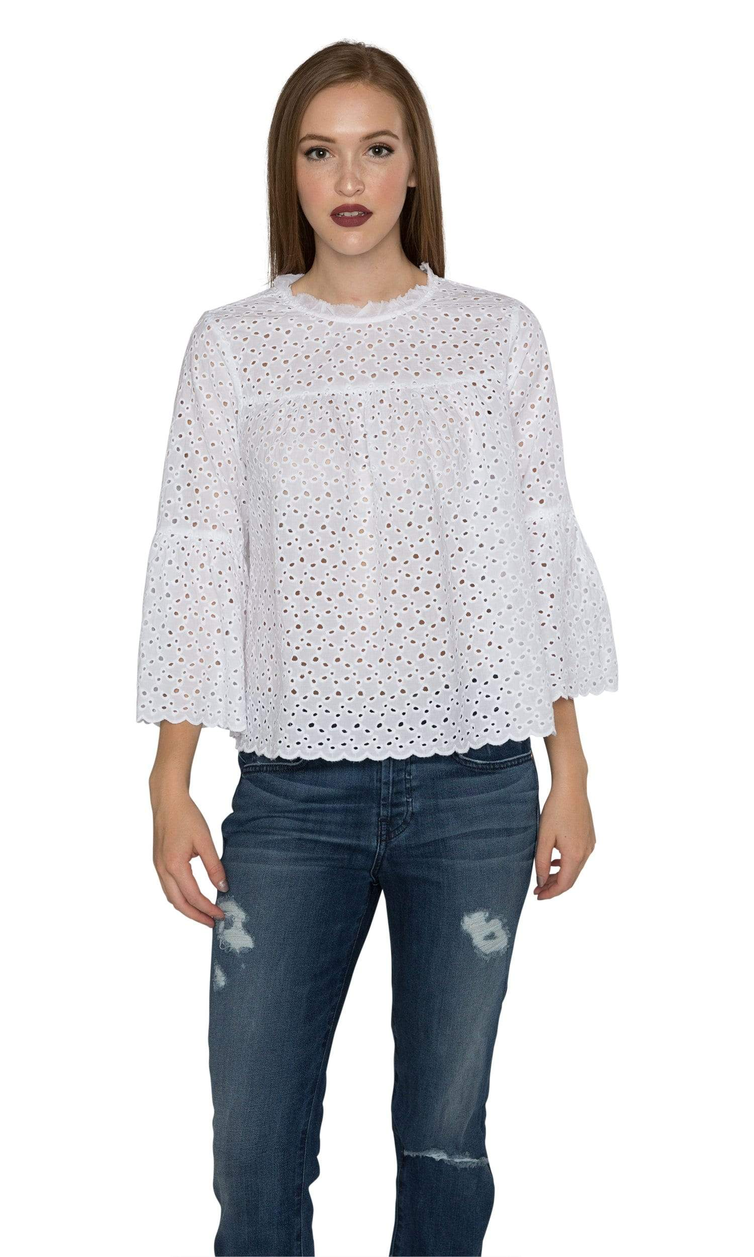 Velvet by Graham & Spencer Gabby Cotton Eyelet Mock Neck Top