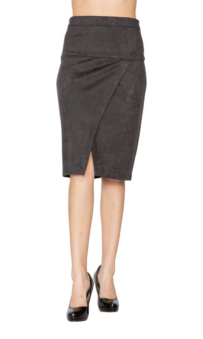 Level 99 Penelope Pencil Skirt with Slit-Level 99-Vintage Fringe