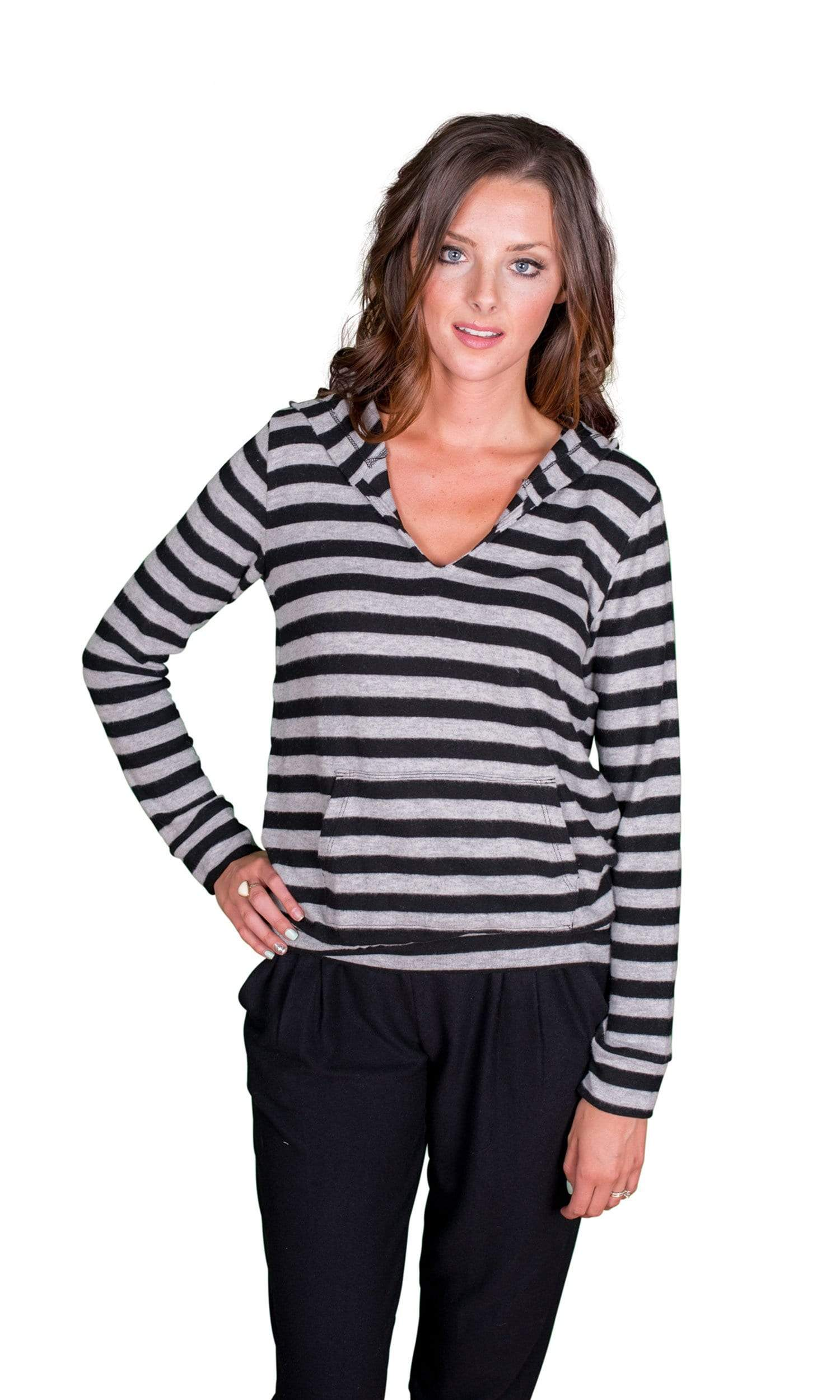 Velvet by Graham & Spencer Wynette Cozy Jersey Striped Hoodie