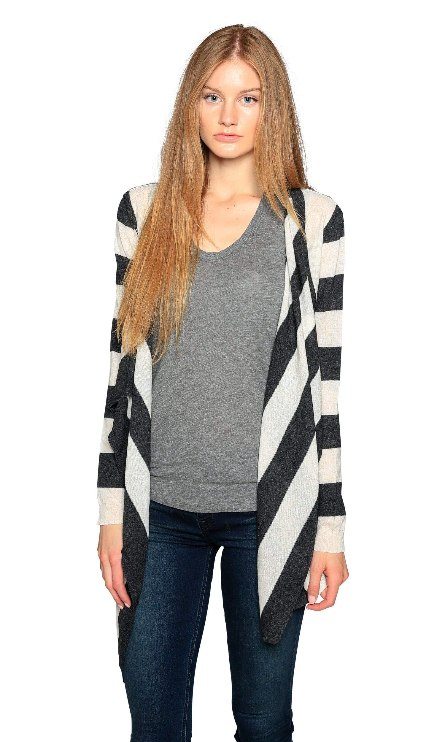 Knitwit Open Cardigan Lightweight Cashmere-Striped